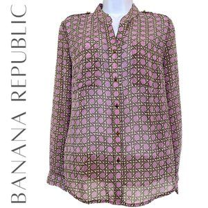 BANANA REPUBLIC Petite Sheer Button Down Blouse, S
